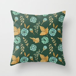 Watercolor floral turqiouse roses print Throw Pillow