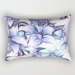 Violet pink teal hand painted sketch elegant floral Rectangular Pillow