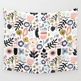 Naive Floral Scandinavian Design Wall Tapestry