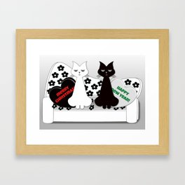 Black and White Cats on Sofa Christmas Framed Art Print