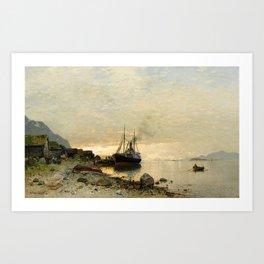 Georg Anton Rasmussen, Norwegian Fjord Landscape with a Ship Art Print