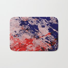 Hot And Cold - Textured Abstract In Blue, Red And Black Bath Mat