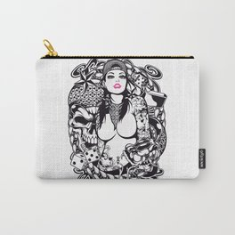 GIRL with SKULL AND SNAKE - PINK Carry-All Pouch