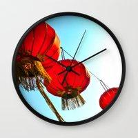 lanterns Wall Clocks featuring Lanterns by Katherine Liu
