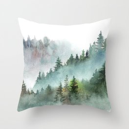Watercolor Pine Forest Mountains in the Fog Throw Pillow