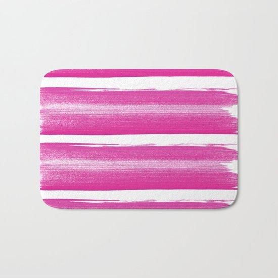 Simply handrawn pink stripes on white background Bath Mat