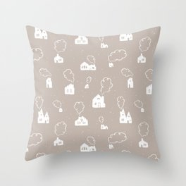 Cozy Winter Homes Pattern - Warm Gray Throw Pillow