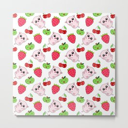 Cute funny happy adorable pink Kawaii baby kittens, red ripe summer strawberries, sweet cherries and laughing green apples white pattern design. Nursery decor ideas. Metal Print