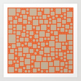 abstract cells pattern in orange and beige Art Print