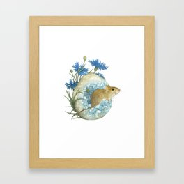 Field Mouse and Celestite Geode Framed Art Print