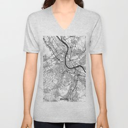 Basel Map Gray Unisex V-Neck