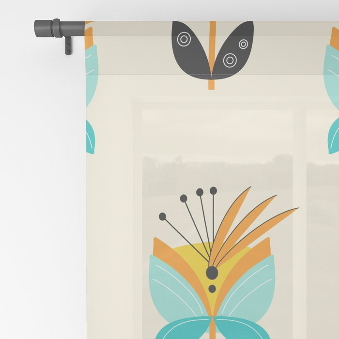 Abstract Flower Sheer Curtain