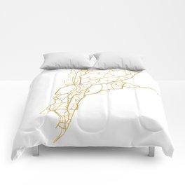 MUMBAI INDIA CITY STREET MAP ART Comforters