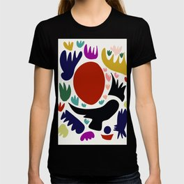 Birds in the sun minimal art abstract pattern decorative T-shirt