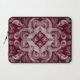 Dark cherry red dirty denim textured boho pattern Laptop Sleeve