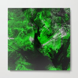 Emerald Blast - Abstract Black And Green Painting Metal Print