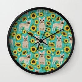 French Bulldog sunflowers sunflower floral dog breed dog pattern pet friendly pet portrait Wall Clock