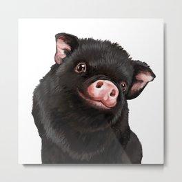 Cute Baby Black Pig Metal Print