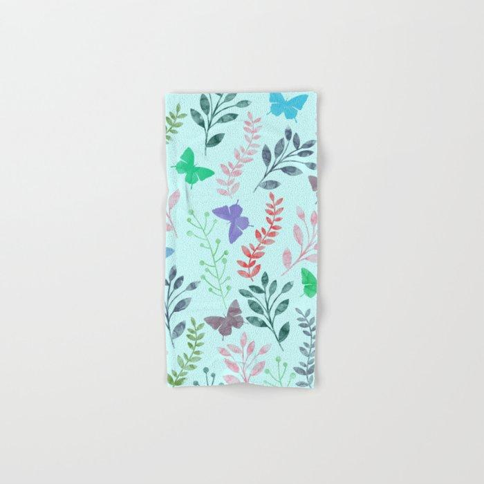 Watercolor flowers & butterflies II Hand & Bath Towel