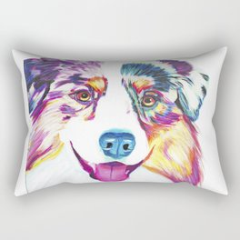 Happy Australian Shepherd Rectangular Pillow