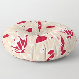 winter floral ivory Floor Pillow