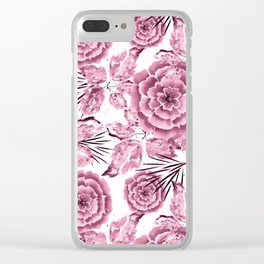 Dusty pink flowers. Clear iPhone Case