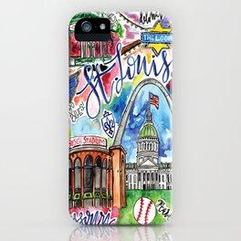 St. Louis Skyline Watercolor iPhone Case