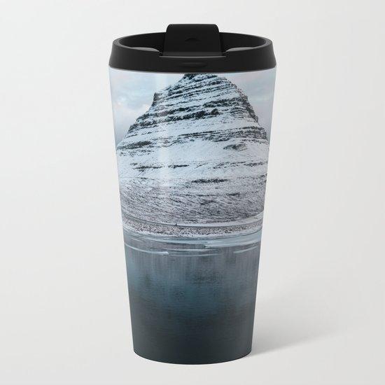 Iceland Mountain Reflection - Landscape Photography Metal Travel Mug