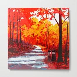 Tardis Art Autumn Tree Painting Metal Print