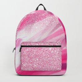 Watercolor pink white brushstrokes glitter gradient Backpack