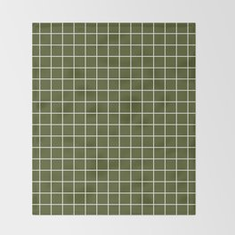 Army green - green color -  White Lines Grid Pattern Throw Blanket