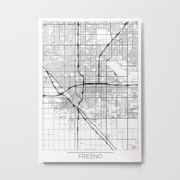 Fresno Map White Metal Print