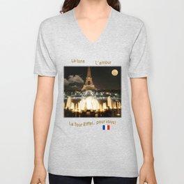 Eiffel Tower at Night Unisex V-Neck
