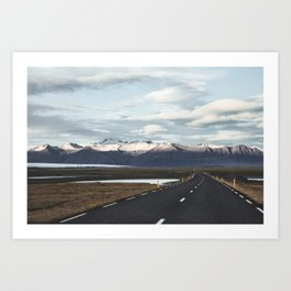 Road Trip in Iceland. || Roads that Lead to the Mountains. || MadaraTravels Art Print
