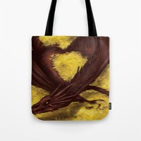 smaug Tote Bags featuring Smaug by toibi