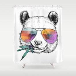 Panda Graphic Art Print. Panda in glasses Shower Curtain