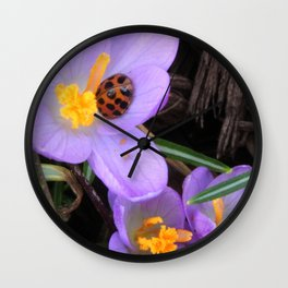 Lady Bug napping in Crocus Wall Clock