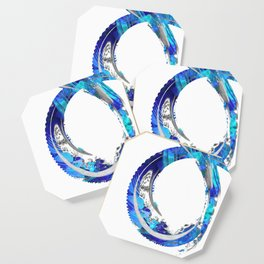 White And Blue Abstract Art - Swirling 4 - Sharon Cummings Coaster