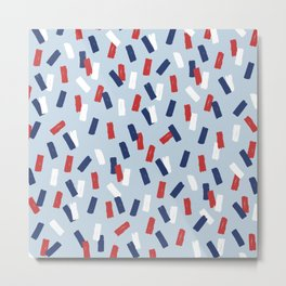 American confetti party minimal paper strokes 4th of July celebration pattern blue Metal Print