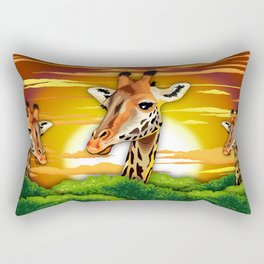 Giraffe on Wild African Savanna Sunset Rectangular Pillow