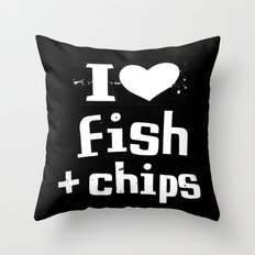 I Heart Fish and Chips - Black Throw Pillow