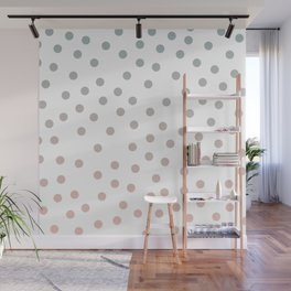 Simply Dots in Coral Peach Sea Green Gradient on White Wall Mural