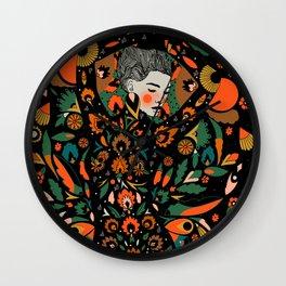 Black Velvet and Clementine Wall Clock