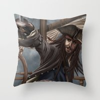 jack sparrow Throw Pillows featuring Captain Jack Sparrow by Art of Nym