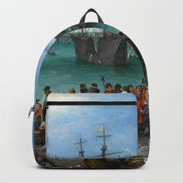 """Jan Brueghel the Elder """"Harbor Scene with St. Paul's Departure from Caesarea"""" Backpack"""