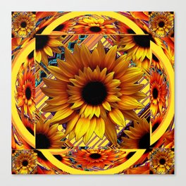 AWESOME GOLDEN SUNFLOWERS  PATTERN ART Canvas Print