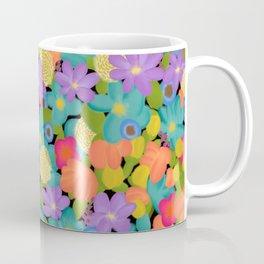 Wild Flowers Design Colorful Feminine Artsy Beautiful Black Background Coffee Mug