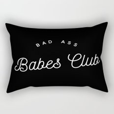 BAD ASS BABES CLUB B&W Rectangular Pillow