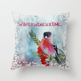 Winter Wondertime - Merry christmas - Little finch on branch-covered with snow Throw Pillow