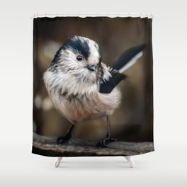 Fluffy The Long-Tailed Tit Shower Curtain